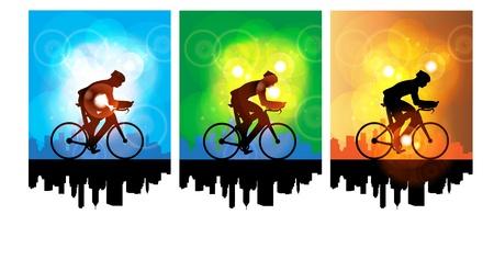 ciclista: Sport bici del camino de la bicicleta jinete. Vector Vectores