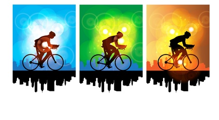 cyclist silhouette: Sport road bike rider bicycle. Vector Illustration