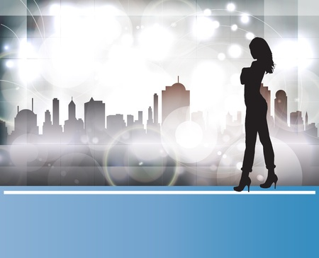 go to store: Silhouette of city girl