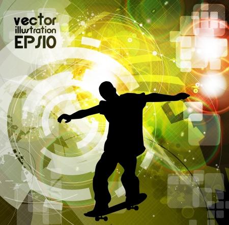 skatepark: Skateboarder. Vector