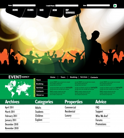 Music event website.  Vector