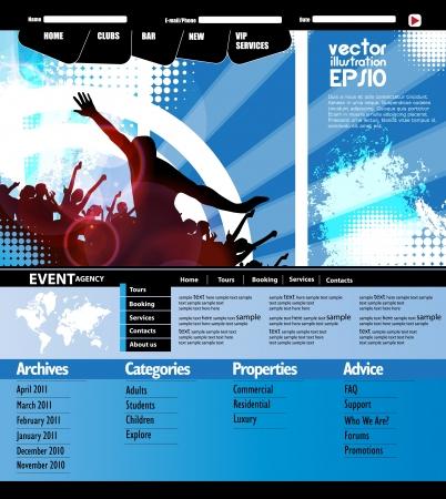 Music Website Template Design Stock Vector - 19221265