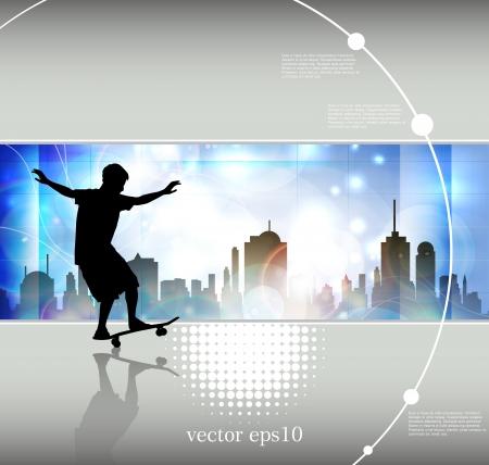 Grunge skateboarding Vector