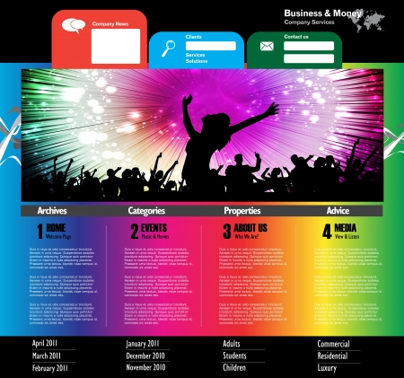 Music Website Template - Vector Design Stock Vector - 19354116