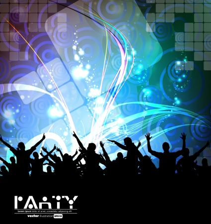 concert crowd: Clubbing party. Vector illustration