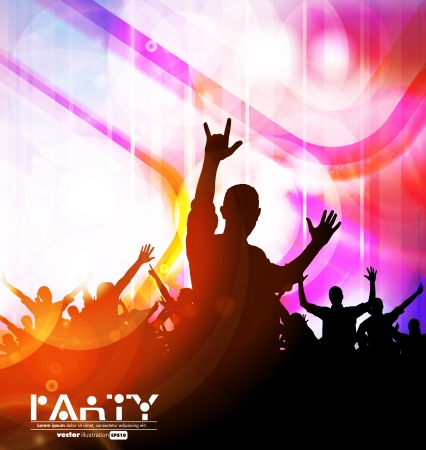 Colorful crowd of party people silhouettes background Stock Vector - 19354198