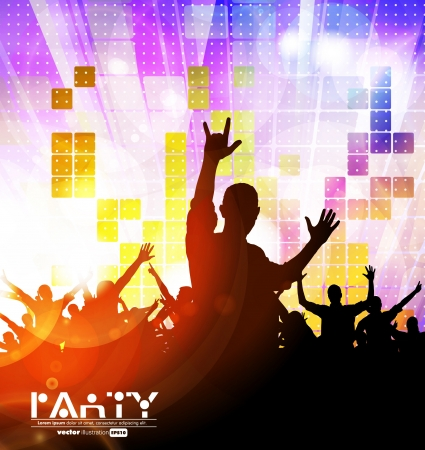 Colorful crowd of party people silhouettes background Stock Vector - 19354169