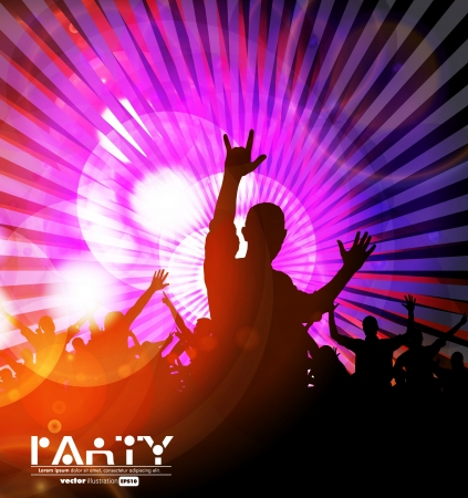 Colorful crowd of party people silhouettes background Stock Vector - 19354236