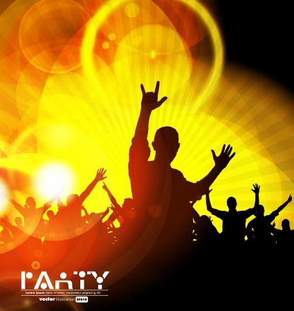 Colorful crowd of party people silhouettes background Vector Illustration