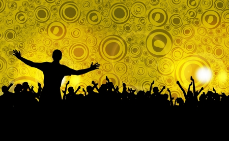 crowd happy people: Colorful crowd of party people silhouettes background