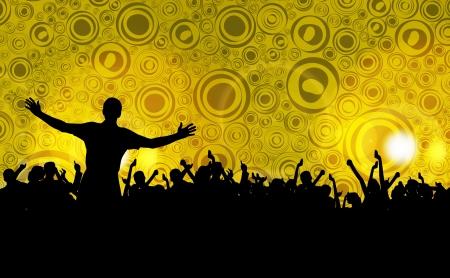 rave party: Muchedumbre colorida de la gente del partido siluetas de fondo
