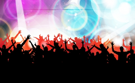Vector colorful crowd of party people silhouettes background Stock Vector - 19354251