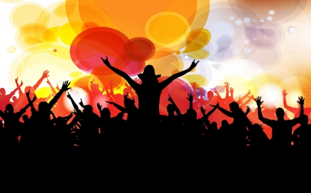 cheer: Vector colorful crowd of party people silhouettes background