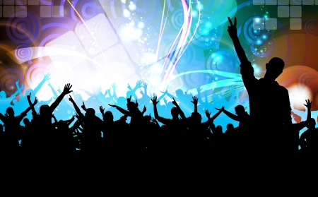 festival stage: Clubbing. Crowd of dancing people