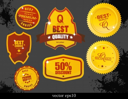 gold record: Vector labels and stickers Illustration
