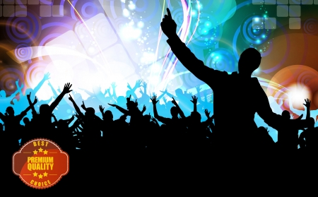 loud music: Concert crowd in front of stage. Vector illustration