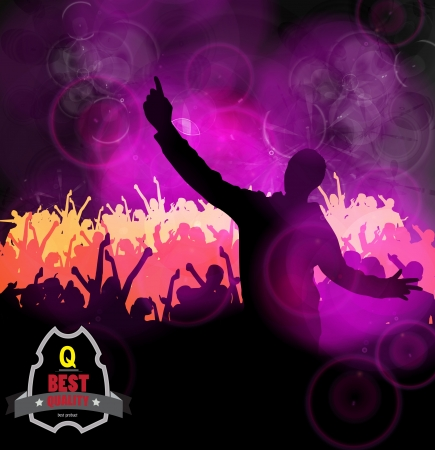 applauding: Concert crowd in front of stage. Vector illustration