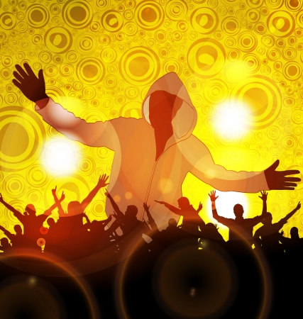 Colorful crowd of party people silhouettes background photo