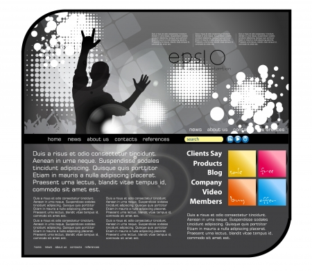 website buttons: Website music template Illustration