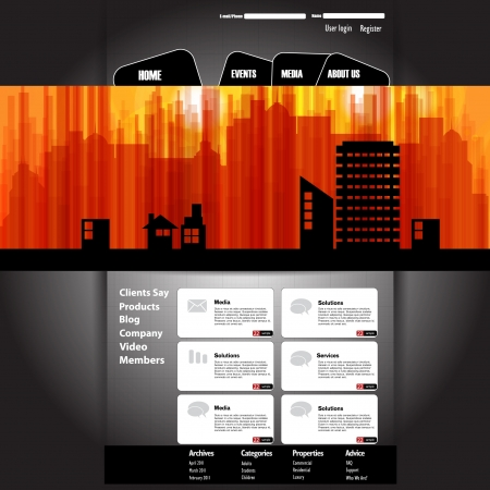 horizon over land: Website with big cityscape banner Illustration