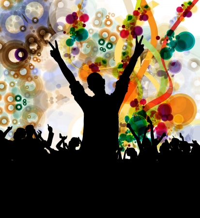 nightclub crowd: Party people  Vector