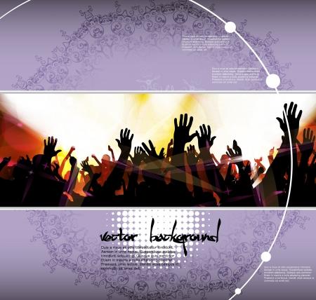Dancing people  Concert crowd Vector