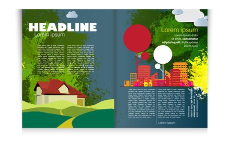 evening newspaper: Magazine layout  Vector Illustration