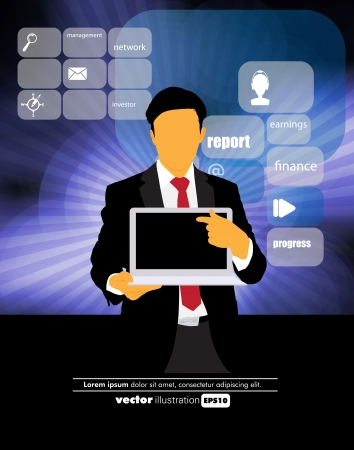 Businessman with computer  Vector Stock Vector - 22834322