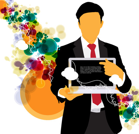 Businessman with computer  Vector Stock Vector - 22834464