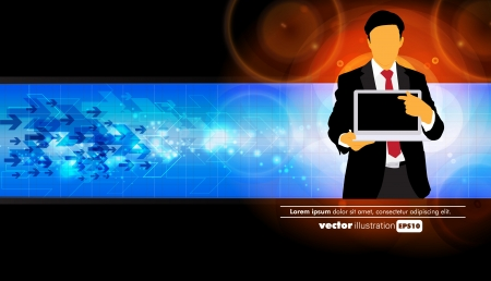 Businessman with computer  Vector Stock Vector - 22834473
