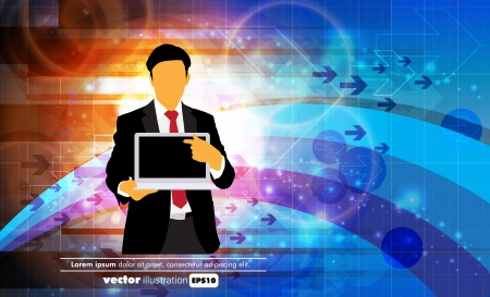 Businessman with computer  Vector Stock Vector - 22834477