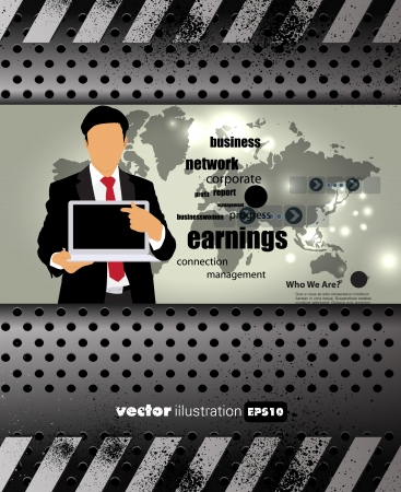 Businessman with computer  Vector Stock Vector - 22834567