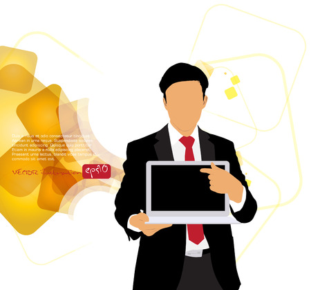 Businessman with computer  Vector Stock Vector - 22834627