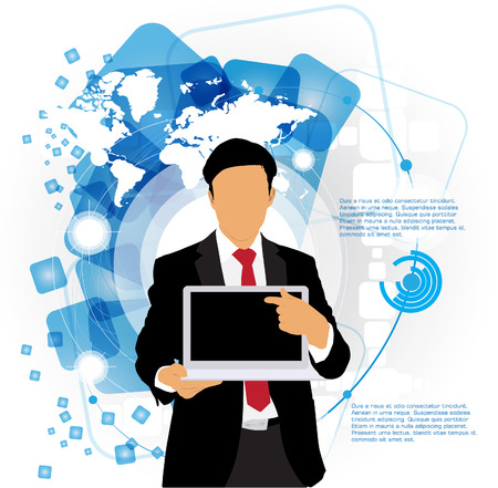 Businessman with computer  Vector Stock Vector - 22834630