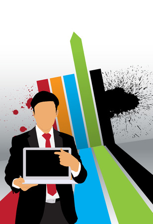 Businessman with computer  Vector Stock Vector - 22834670