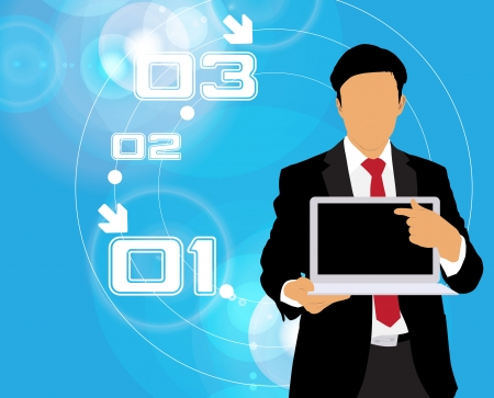Businessman with computer  Vector Stock Vector - 22834682