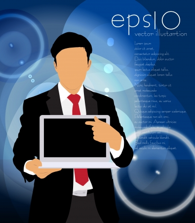 Businessman with computer  Vector Stock Vector - 22834684