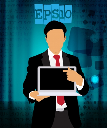 Businessman with laptop computer Vector