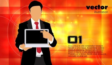 Businessman with laptop computer Illustration