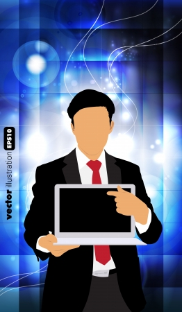 Businessman with laptop computer on technical blue background Vector