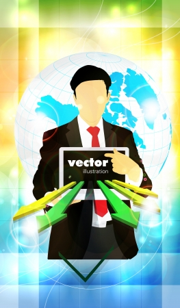 Businessman with laptop computer Stock Vector - 22834703