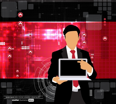 Businessman with computer  Vector Vector