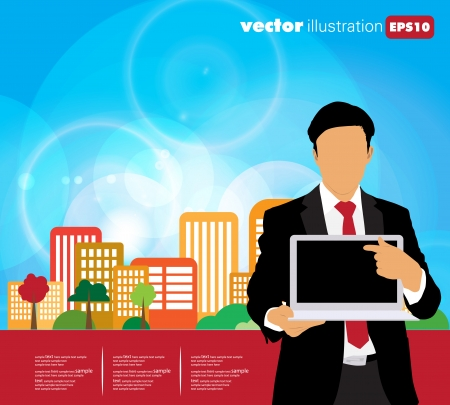 Businessman with computer and city background Stock Vector - 22834724