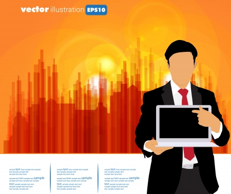 Businessman with computer and city background Stock Vector - 22834728