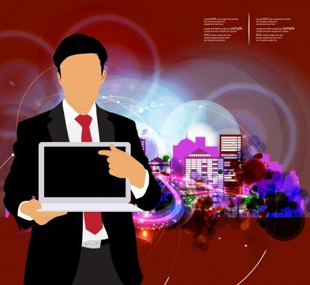 Geschäftsmann mit Computer und Stadt Hintergrund Standard-Bild - 22834729