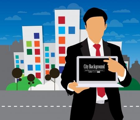 Geschäftsmann mit Computer-und Stadt-Hintergrund Standard-Bild - 22834733