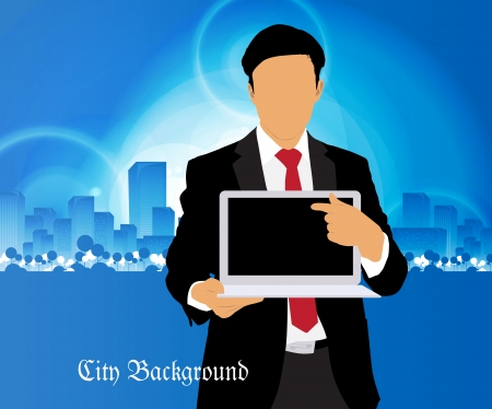 Businessman with computer and city background Stock Vector - 22834741