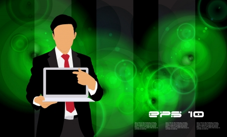 Businessman with laptop computer Stock Vector - 22834763