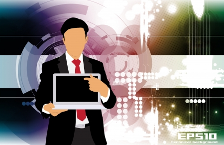 Businessman with laptop computer on abstract background Stock Vector - 22834886