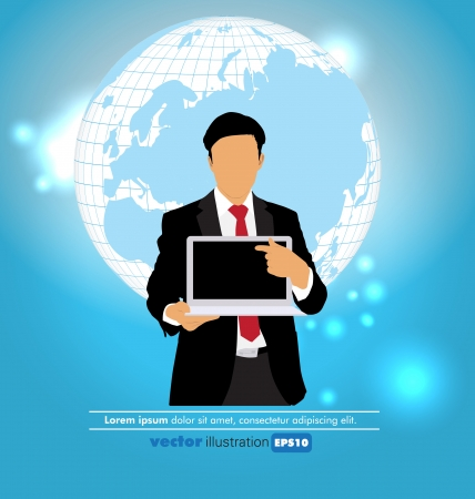 Businessman with laptop computer on abstract background Stock Vector - 22834894